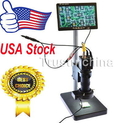 "100X BNC AV TV Digital Industrial Microscope Camera SET C-Mount Lens &7"" Monitor"