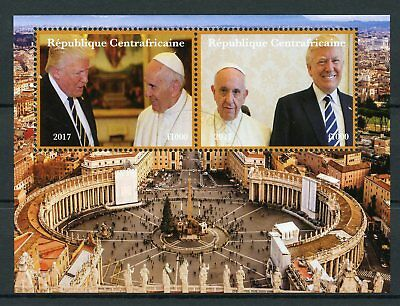 Central African Rep 2017 CTO Donald Trump Pope Francis Vatican 2v M/S II Stamps