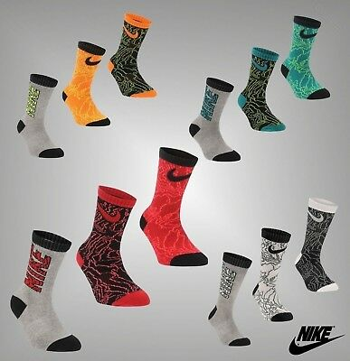 Child Boys Genuine Nike 3 Pack Cushioned Different Patterns Buzz Socks C9-12