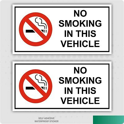 X2 No Smoking In This Vehicle Stickers Car Van Lorry Taxi Hgv