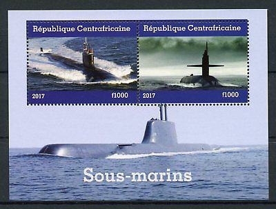 Central African Republic 2017 MNH Submarines 2v M/S Boats Ships Stamps