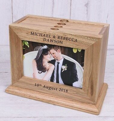Personalised Wedding Day Wooden Photo Album with sleeves Names Mr & Mrs Gift 6x4