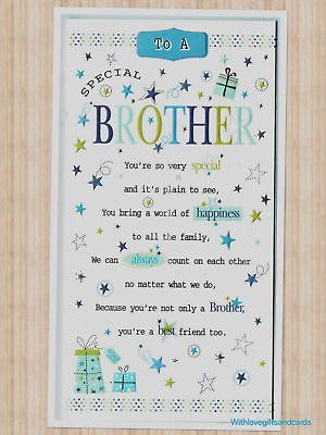Brother Birthday Card Embossed With Sentiment Verse 185