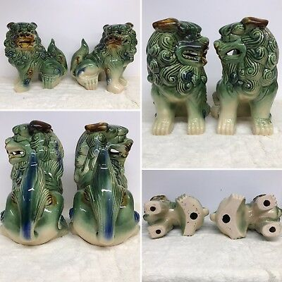 Pair Of Antique Chinese Porcelain Fu Foo Dogs Green White Brown Statue Figurines