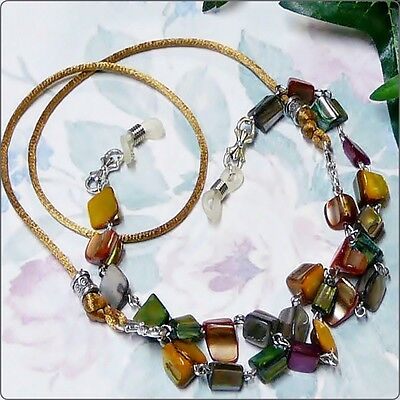 Autumn Tones Mother of Pearl - Reading eye glasses spectacle chain lanyard