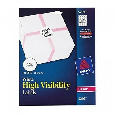 Avery High Visibility 12/3 Inch Diameter White Labels 600 Pack (5293)