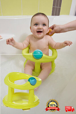 Portable Baby Swivel Bath Seat Chair Child Toddler Extra Back Support Green NEW