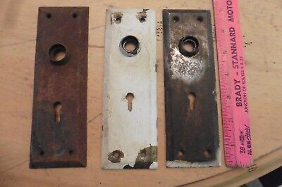 Door Plate Key hole Knob LOT OF 3 Vintage antique backplate art deco brass