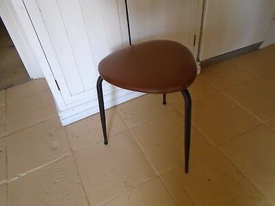 Vintage / Retro Industrial Tripod Stool - Tapered Metal Legs