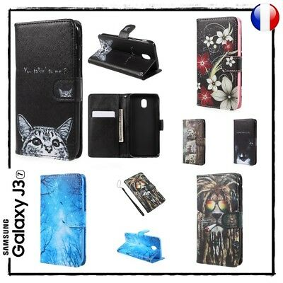 Etui housse coque porte cartes Cuir PU Leather Case Cover Samsung Galaxy J3 2017