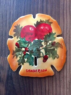 """Collectible 3""""x3.5"""" HAND PAINTED CHRISTMAS HOLLY SAND DOLLAR by Cathy Sanderson"""