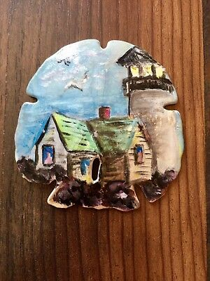 """Collectible 3""""x3"""" HAND PAINTED LIGHTHOUSE SAND DOLLAR by Cathy Sanderson"""