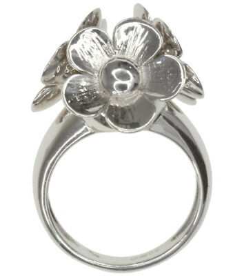 Flower Flowers Dome Design Sterling Silver Ring