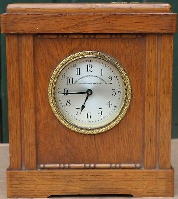 Unusual Clean Old Wooden Money Driven Mantel Type Clock With Alarm