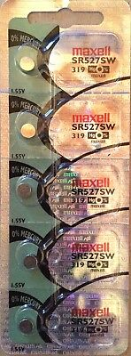 5 x Maxell SR527SW 319 Silver Oxide 1.55v Watch Battery made in JAPAN