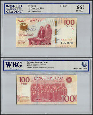 Mexico 100 Pesos, 2016, P-NEW, UNC, Series AY, Graded Banknotes, WBG 66 TOP