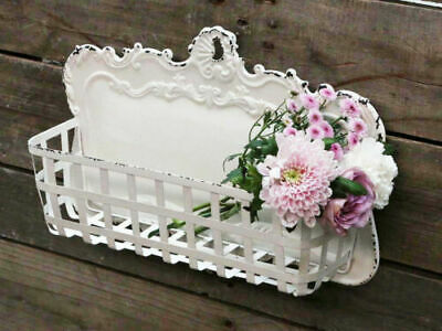 Antique White French Metal Basket Holder Wall Mounted 30 x 45 cm