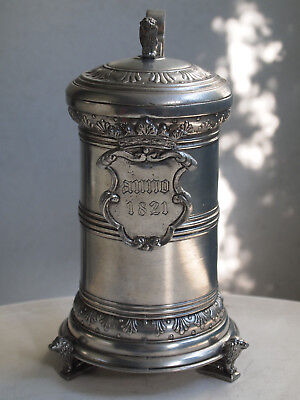 Rarity+++ extravagant antique lion tin jug / beer jug / beer hump /pewter