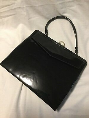 Vintage Gold Black Patent Leather Crown Lewis Purse Black Cosplay Retro Purse