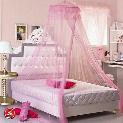 Princess Canopy Pink Girl Kids Toddler Bed Mosquito Net Tent Baby Crib Twin Teen