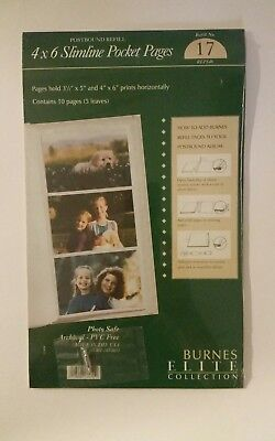 Burnes 4x6 Slimline Pocket Pages REHS46 #4 - 3 Ring Refill Pages