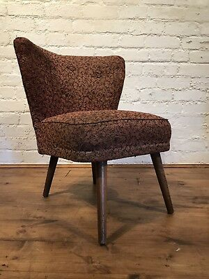 Vtg 50s Mid century Armchair Cocktail Chair Retro Scandinavian For Restoration