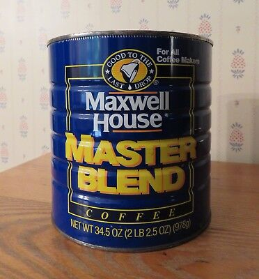 Maxwell House Master Blend Metal Coffee Can Tin 34.5 oz.