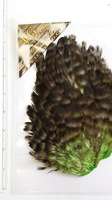 "Lg  Soft Hackle Hen Saddle Patch  "" Grizzly/green """