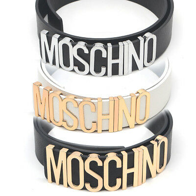 Ladies Women Leather Letters MOSCHINO Belt Waistband White Black Length 110cm