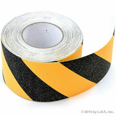 "Black Yellow Safety Non Skid Tape 4"" x 60' Roll Anti Slip Sticker Grip Grit Safe"