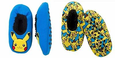 Pokemon Pikachu Boys Fuzzy Babba Slippers Blue or Yellow New with Tag