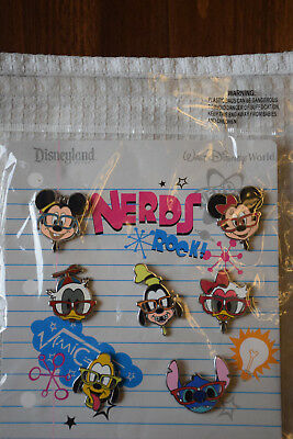 Disney Pin 90174 Nerds Rock! Head Collection Booster Set Pack NOC 7 pc lot NEW