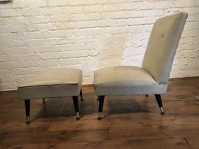 Vtg 50s Mid century Armchair Cocktail Chair With Footstool Retro Scandinavian