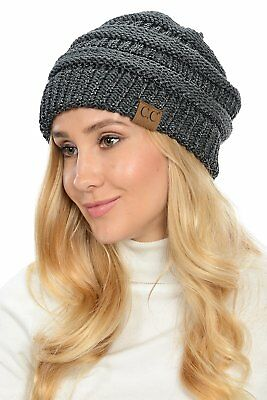 WarmSoft Stretch Chunky Cable Knit Slouchy Beanie Oversized Winter Women Men Hat