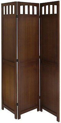 3 Panel Wood Folding Screen Antique Walnut Room Divider Parion Brown