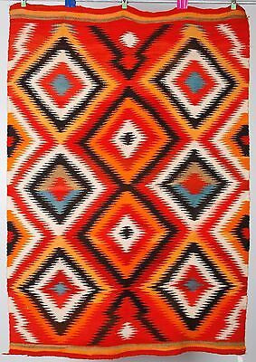 Early Navajo rug transitional blanket Native American textile weaving eyedazzler