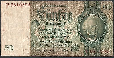 """50 Reichsmark 1933 Germany banknote - Series: T5810395 -""""VG""""  (5602)"""