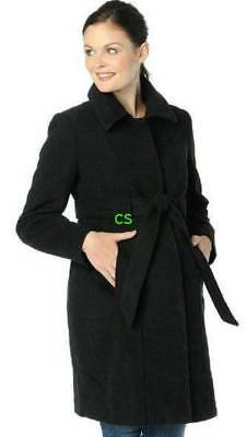 NWT $185-Oh Baby Motherhood Maternity Black Belted Faux Wool Jacket Coat- M & L
