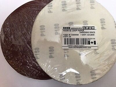 "Pack of 10, KEEN #74651, 8"" Hook & Loop Sandpaper sanding disc 180 Grit"