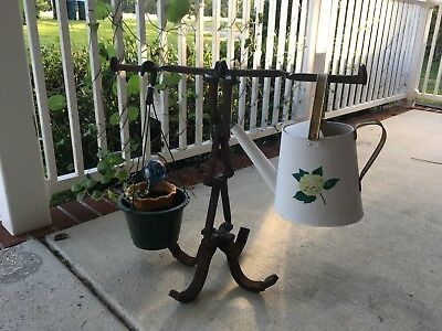plant/utility hanger-Railroad spike/hooks. Welded at home. Extremely sturdy