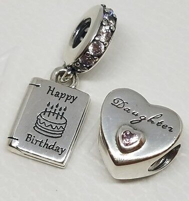 Lot 2 PANDORA Dangle Happy Birthday Wishes Charm 791723CZ Daughter 791726PCZ
