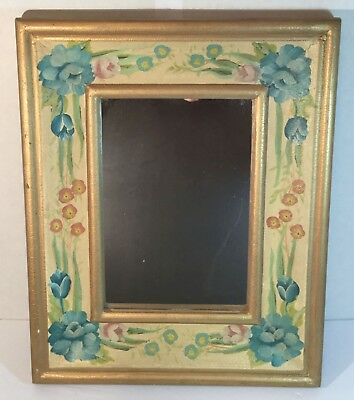 Beautiful hand painted mirror.  Cottage decor, romantic shabby chic. Blues/pinks