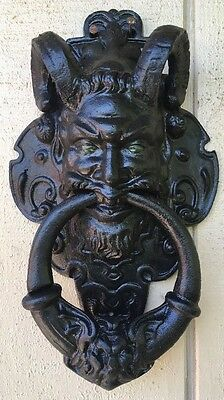 Large Heavy Solid Brass Black Door Knocker Demon Satyr Art Deco Design
