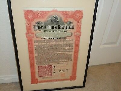 IMPERIAL CHINESE GOVERNMENT Issued 5% Hukuang Railways 100 Gold Loan of 1911