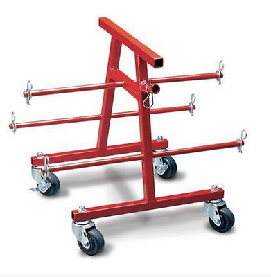 Wire Caddy Portable Organizer Storage Holder 6 Spindle Semi-Pneumatic Steel Red