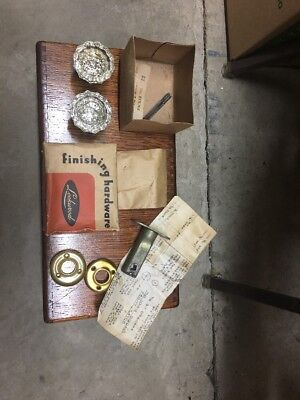 Vintage Lockwood Glass Door Knobs New Old Stock With Box Directions And Hardware