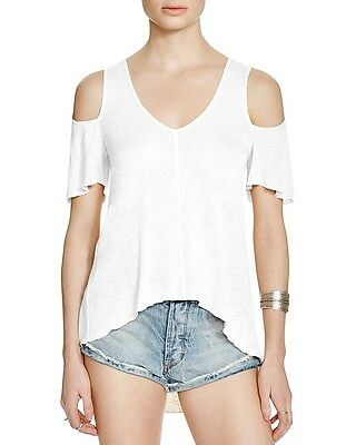 043b657a996 Free People Bittersweet Tee Cold Shoulder Top Ivory White Medium M $68 *NWT*