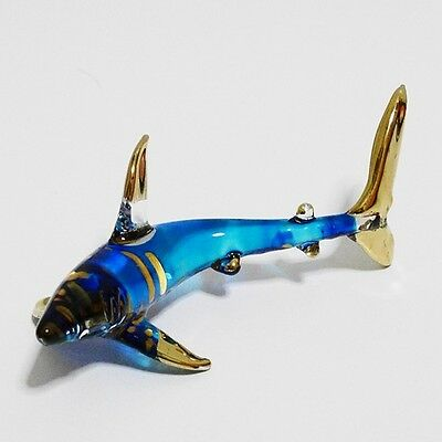 Blue Shark Animal Figurine Hand Paint Blown Glass Home Decorate Collectible Gift