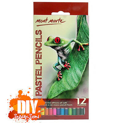 Mont Marte Soft Pastel Pencils 12 Beautiful Colours Drawing Shading Artistic