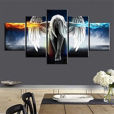 5Pcs Unframed Modern Angel Canvas Wall Art Print Oil Painting Decor Gift Home